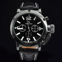 Hot Sale!Vogue V6 Strips Hour Marks Black Hours quartz Analog Men Business Watch, man sports wristwatch, Christmas Gift