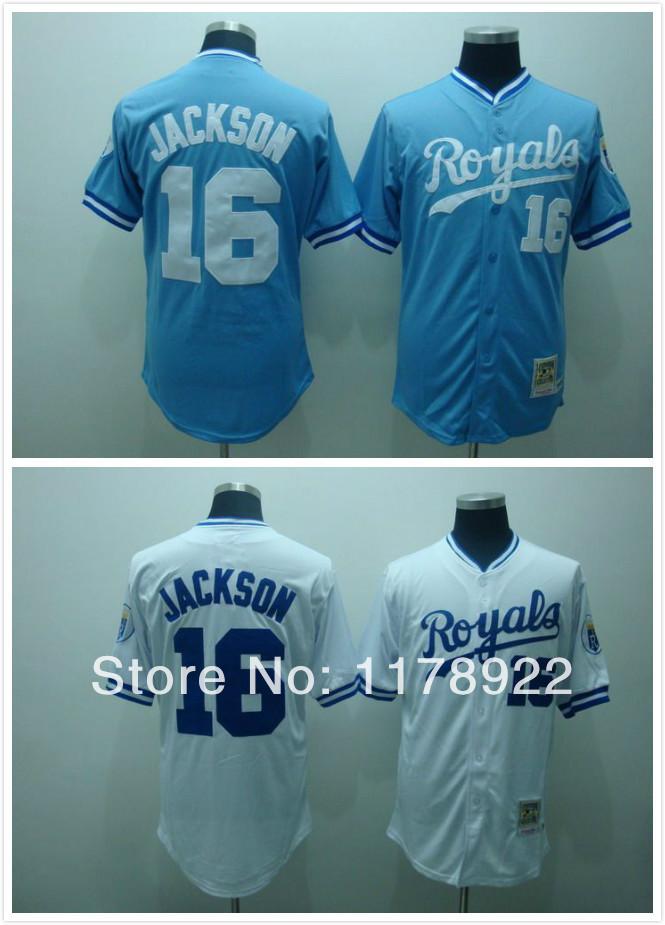 best service d0ec3 25d25 kansas city royals #16 Bo Jackson baseball Jersey 1980 throwback blue white  size M-XXXL(China (Mainland))