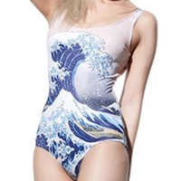 RESUN KNITTED digital print fashion sexy one-piece wave spray The Great Wave Swimsuit Galaxy maple leaf bathing suits for women