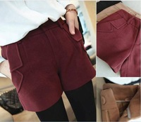 Four Colors 2013 New Korean Thicken Wool Shorts,Fashion Pocket Oversize Straight Winter Shorts S-XXL Freeshipping