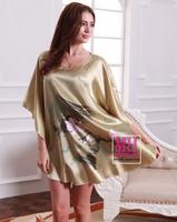 2014 Lotus Pattern Leisure Lamp Rhyme Women Nightgown Printed,Large Size Female Nightdress,Fashion Round Collar Silk Nightwear
