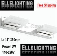 14inch SMD5730 6W LED Mirror Light 4 Hotel Bathroom Washroom Wall Spot Light 110-220V Waterproof Led Wall Light Free shipping