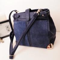 n bag handbag Korean version of the influx of women fashion woolen bag bag hit the color stitching Shoulder Messenger Bag