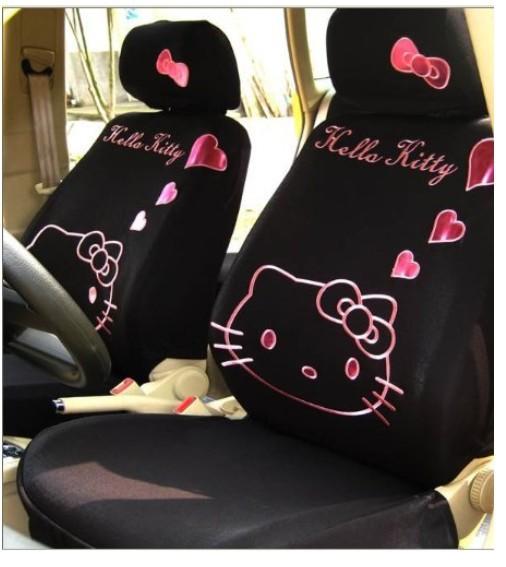 2015 new 12pcs Universal Hello Kitty Heart Car Seat Covers Accessory,Black(China (Mainland))