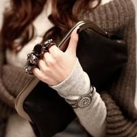 2014 new European and American women bag Korean retro skull ring clutch bag handbag evening bag handbag