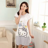 Spring and autumn summer female nightgown young girl short-sleeve sleepwear women sweet princess cartoon sexy lounge