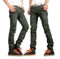 FREE SHIPPING 2014 fashion men jeans Slim straight denim male jeans for men Dark green Zipper Style Jeans (8178) W28-34