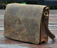 2014 New Vintage Retro Genuine Leather Crazy Horse Leather Cowhide Men Messenger Bag Shoulder Bag Ipad Bag Bags For Men A063
