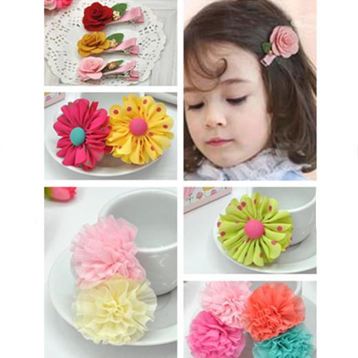 meninas flor hairpin multicoloridas projetos de misturas grampo de cabelo para crianças pano artesanal arte acessórios da menina de cabelo(China (Mainland))