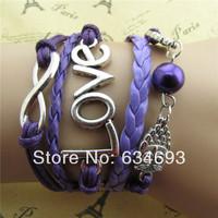 Purple leather braided cute owl love restoring ancient ways of eight friendship bracelet