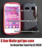 s line case For Alcatel One Touch Pop C3 4033D,soft s line matte silicone gel tpu cover case,1pcs