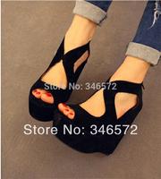 Hot-selling wedges high-heeled open toe platform zipper platform shoe bandage black shoes sandals