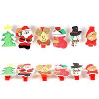 12PCS/LOT.Wood christmas clip.Memo board clip.Christmas tree ornament.Indoor christmas decoration.X'mas crafts.6design.Wholesale