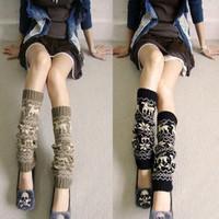 Japan VIVI warm winter wool socks knitted socks snowflakes fawn wool piles of socks / leggings socks