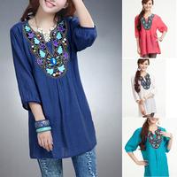 L-XXXL New 2014 Vintage Embroidery Blouse Women's Beading Blusa Renda Plus Size Shirts For Woman,Retro Women Clothing