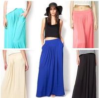 2014 European style satin rayon ladies skirts top quality floor-length long skirts casual pockets pleated beach skirt women S,M