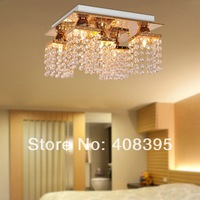 Free Shipping Square Comtemporary Gold Ceiling Lighting With K9 Crystal Drop E14/E12 Light Base For Bedroom Light Fixtures