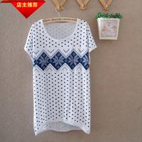 Women's summer heart all-match gentlewomen 100% cotton comfortable batwing sleeve all-match women's short-sleeve round neck