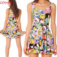 2014 Fashion Women digital print pleated Adventure Time Bro Ball Reversible Skater Dress+free shipping