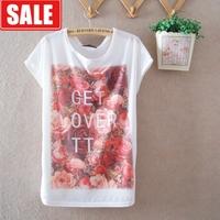 Summer female thin milk, silk batwing sleeve loose large rose gentlewomen women's short-sleeve round neck tshirt