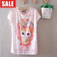 summer loose cartoon onta batwing sleeve thin milk, silk round neck short-sleeve women's tshirt  blouses clothing