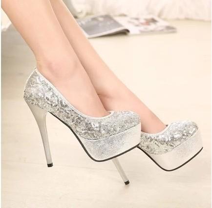 Silver Glitter Round Toe Pumps Round Toe Silver Glitter