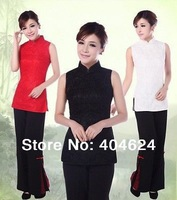 Wholesale Handmade High Quality Red Black White Chinese Vintage Qipao Women's Lace Shirt  CheongsamTop Blouse,Size:S-2XL,3Colors