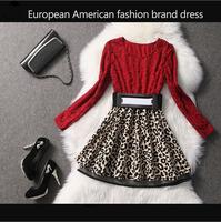 Spring New 2014 Brand European American Leopard Print Dresses Patchwork Design Ladies Lace Dress Woman Vintage Dress