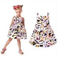 2014 new spring and summer French style girls colorful leopard suspender dress baby girl print bow princess party dress