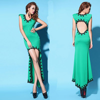2013 female vintage sexy racerback embroidered low-high dovetail one-piece dress formal dress