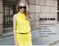 2014 Summer Fashion Candy Color Tank Dress Sleeveless Chiffon One-piece Dress Halter-neck Basic One-piece Dress Free Shipping