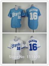 Free shipping Mens Kansas City Royals #16 Bo Jackson White /Light Blue Throwback Baseball Jerseys Embroidered Logo size 48-56(China (Mainland))