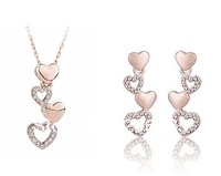 Fashion Austria crystal Lots Hearts Necklace& Earrings Heart sets Crystal Jewelry