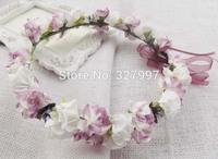 Fashion Wedding flower girl head cown romatic purple flower Hawaii head wreath with ribbon NW018