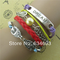 Handmade cute owl wing pearl dream of colorful leather bracelet