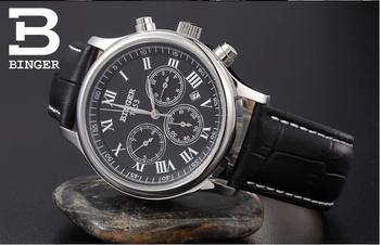 Оригинал boxLuxury бренды швейцарский бингер 200 м водонепроницаемые часы мужские механическая рука ветер кожаный ремешок часы мужские наручные часы