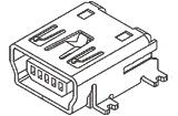 MINI USB Receptacle,Type B, TypeB,5PIN,SMT,Horizontal, Option Post