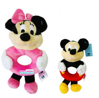 2PCS=1LOTS Mickey + Minnie Plush animal toys Baby Toys Baby Rattles & Mobiles