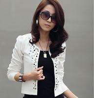 Fashion rivet OL outfit coat rhinestones blazer outerwear short design female