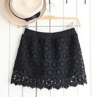 2014 womer lace skirt  cutout embroidery flower slim bust short skirt balck and white mini skirt
