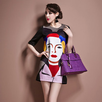 Jmfive 2014 new spring plus size clothing straight one-piece dress fashion portrait print women dress