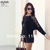 2014 Plus-size women's upper garment of bats long sleeve T-shirt