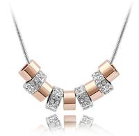 Wholesale (30 pcs/lot) Crystal necklaces & pendants for Women 9 Circle Pendant Necklace