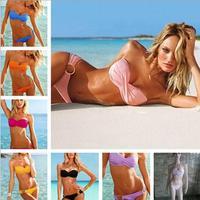 Victoria Sexy Bra metal clasps girls split bikini swimwear a345