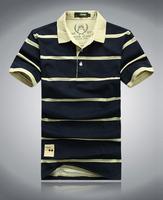 Wholesale 2014 Summer Fashion stripe T-Shirts Men Shirts For Mens Casual Men's Sport t shirt plus size Free Shipping