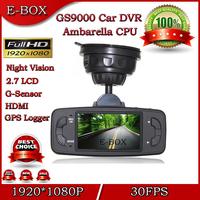 100% Original Ambarella Car DVR Camera Recorder GS9000 Full HD 1920*1080P 30FPS G-Sensor GPS Logger 2.7'' LCD HDMI H.264