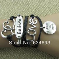 Hearts Believe Love wax rope bracelet gift bracelet with men and women
