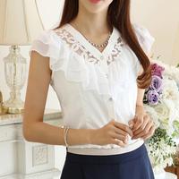 New 2014 Free shipping fashion women summer Chiffon Lace Blouse falbala casual base lady shirt Hollow out flowers 2 color S~XL