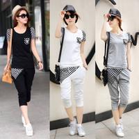New 2014 fashion women summer set plaid spliced short-sleeve t shirt+capris 2-pieces female ladies leisure set summer clothing