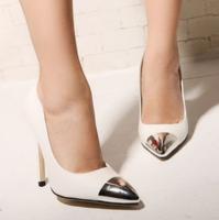 Fashion metal 2014 pointed toe high-heeled thin heels shoes black white shoes